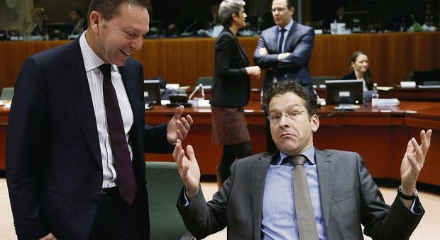 Greece's Yannis Stournaras and Dutch Minister Jeroen Dijsselbloem