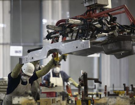 A Fiat car being manufactured at a Chrysler factory. Bloomberg