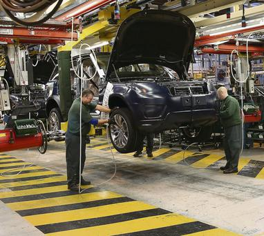 Range Rovers and Land Rovers are built on the production line of the Jaguar Land Rover factory in Solihull, England.