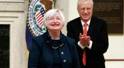 CLOUT: Janet Yellen, the new chair of the US Federal Reserve board, and her husband, Nobel economics laureate George Akerlof. Photo: Jim Bourg/Reuters