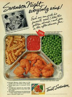 YUM YUM: An advert for a Swanson TV dinner – the ground zero of the laptop meal