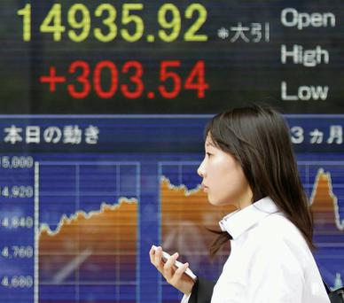 Japan's Nikkei share average climbed to a two-month closing high yesterday on strong Chinese factory data