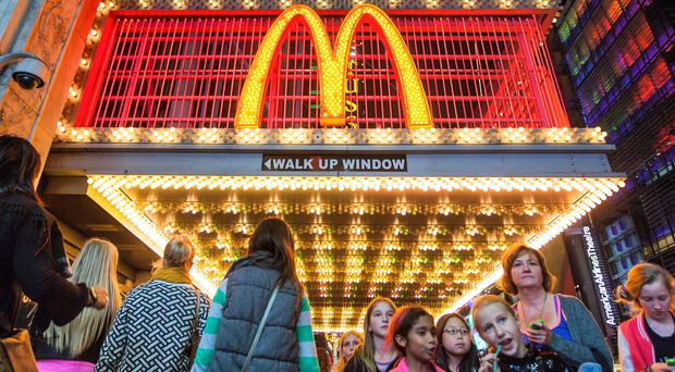 A busy McDonald's restaurant in Times Square, New York.