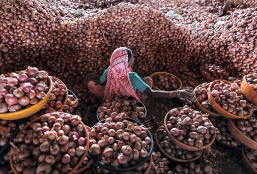 A woman sorts onions at a wholesale market in Lasalgaon, India. India's inflation eased in June after the new government curbed farm exports