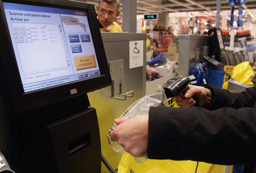A self-scan checkout in a branch of Ikea in Berlin, Germany