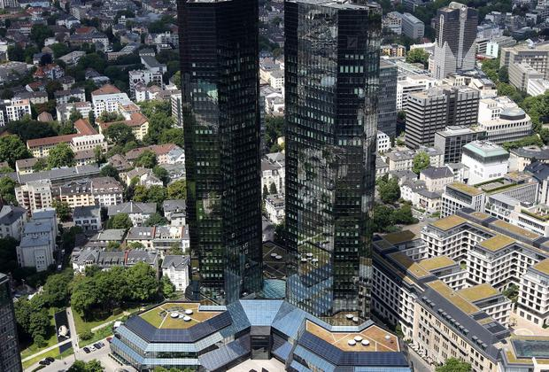 Mr Cryan is co-chief executive at Deutsche Bank, whose headquarters are pictured here