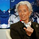 IMF chief Christine Lagarde at the panel discussion yesterday. Reuters