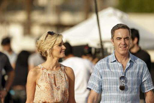 Irish actor James Nesbitt with actress Joanna Bobin in a TV commercial for Thomas Cook holidays