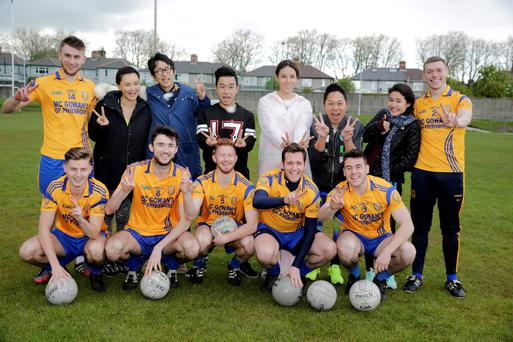 Chinese reality TV stars with Na Fianna players Angus Farrell, Alistair Fitzgerald, Eric Caffrey, David McGrath, Aaron Byrne, Ryan O'Flaherty and Niall McGovern