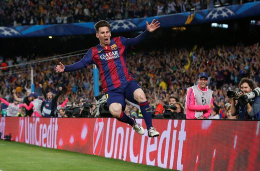 Lionel Messi celebrates scoring his second goal as Barcelona beat Bayern Munich 3-0 in Wednesday's UEFA Champions League Semi Final clash at the Nou Camp
