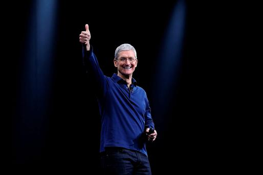 Apple CEO Tim Cook delivers the keynote address at the company's conference in San Francisco