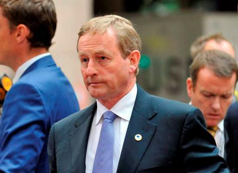 Taoiseach Enda Kenny arrives for the meeting in Brussels yesterday