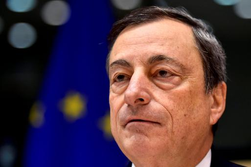 MAN ON A MISSION: European Central Bank President Mario Draghi attends a Monetary Dialogue with the European Parliament's economic and monetary affairs committee in Brussels, Belgium, last Thursday