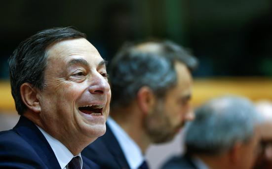 ECB chief Mario Draghi at the EU in Brussels yesterday. Photo: Reuters