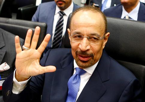 Saudi Arabia's Energy Minister Khalid al-Falih talks to journalists before a meeting of Opec oil ministers in Vienna