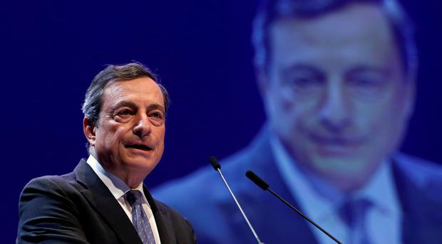ECB president Mario Draghi delivers his hard-hitting speech to the Brussels Economic Forum