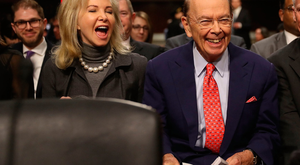 Wilbur Ross with his wife, Hilary Geary Ross, after being picked as commerce secretary