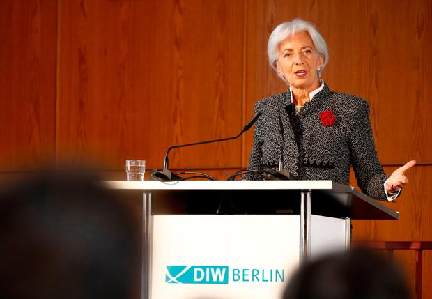 IMF managing director Christine Lagarde, speaking in Berlin, welcomed the global economic upswing, but worried about 'the rise of populism and the short-sighted siren call of protectionism'. Photo: AFP/Getty Images