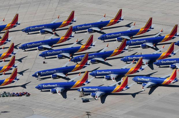 Grounded: 737 Max aircraft parked up at the California Logistics Airport. Photo: AFP/Getty Images