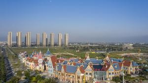 An aerial view of China Evergrande Group's under-construction Cultural Tourism City residential and tourism development in Taicang, Jiangsu province, China. Photo: Qilai Shen/Bloomberg