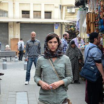 Homeland's Claire Danes on a secret mission in a street in 'Beirut' - filmed in Israel