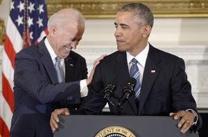 Bromance: President Barack Obama pays tribute to his vice-president Joe Biden in the White House in January 2017