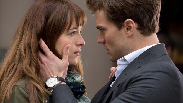 Dakota Johnson and Jamie Dornan in '50 Shades of Grey', the movie.