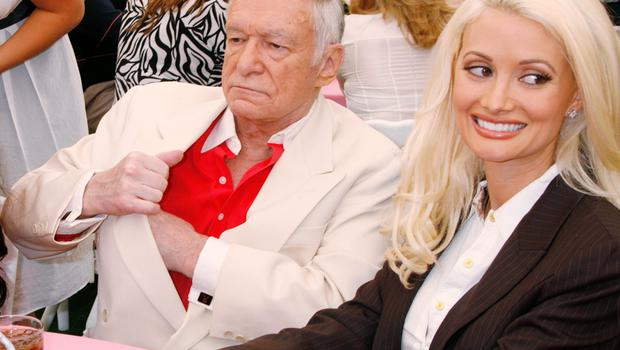 Holly Madison with Playboy founder Hugh Hefner in 2008