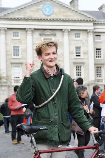 Second year Philosophy and Theology student Jack Gleeson celebrating being named a Trinity College scholar (students who have demonstrated exceptional knowledge and understanding of their subjects) in 2012
