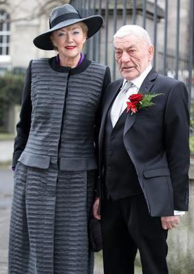 CONGRATULATIONS: Marian Finucane and husband John Clarke after their marriage at the Registry Office on Grand Canal Street, Dublin, last Tuesday. Photo: Frank Mc Grath