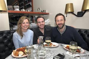 Super seafood: Edel Coffey dined with co-writers Nick V Murphy and Chris O'Dowd at Super Miss Sue in Dublin