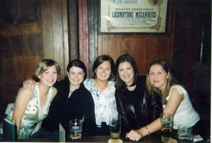 "Elaine Crowley: ""This is in 2004 with my friends in the pub, we were on a girly weekend away in Belgium. I still have that leather jacket and it still kind of fits, which just goes to show, even if it seems like I've fluctuated loads, it's only ever been b"