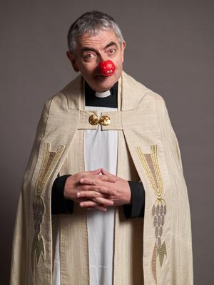 Rowan Atkinson joins in the Red Nose Day spirit as part of the cast in the Four weddings and a funeral short film