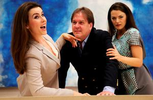 Anna with singers Maire Flavin and Alan Ewing in rehearsals for Handel's 'Agrippina'