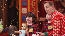 Mya (8) & Ria (6) Morrissey from Lismore, Co. Waterford with Ryan Tubridy on The Late Late Toy Show 2018. Picture Andres Poveda / RTE