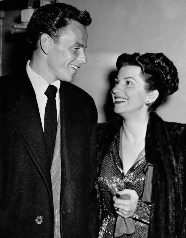 NANCY WITH THE LAUGHING FACE: Frank and Nancy Sinatra Snr leaving a Hollywood nightclub in October 1946. Photo: AP