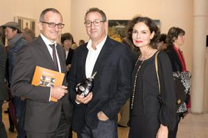 Toast of the art world: Guillaume Penot from Moët Hennessy and winner Nick Miller at the Hennessy Portrait Prize 2014