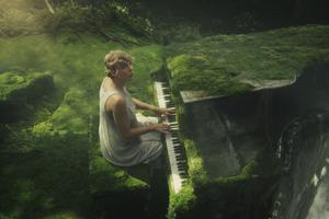 Taylor Swift plays a moss-covered piano in 'Cardigan'