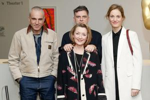Stunning outfit: Daniel Day-Lewis, director Paul Thomas Anderson and Lesley Manville