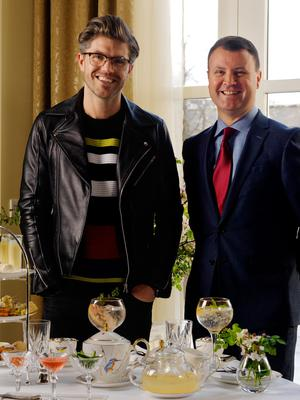 Darren Kennedy gets a pre-launch sneak peak of the unique G &Tea at InterContinental Dublin with General Manager Nicky Logue. Photo: Barry Murphy