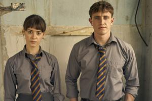 Daisy Edgar Jones and Paul Mescal in their school uniforms; picture by Enda Bowe