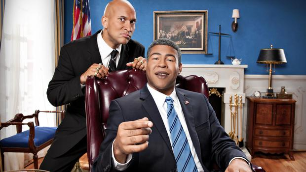 Oval office skit: Peele in character as Barack Obama with Keegan-Michael Key for Key & Peele