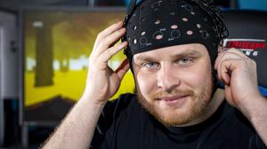Tim Smithies, a researcher at the Lero esports science lab in UL, wearing a Halo headset. Photo: Don Moloney