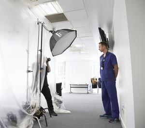 Rankin taking a picture of a frontline NHS worker during the coronavirus crisis (Rankin Agency)