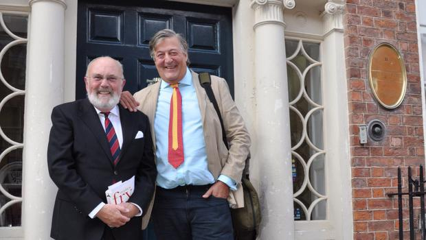 Joyous gems: David Norris and Stephen Fry pictured at the James Joyce Centre in Dublin last Tuesday (Bloomsday).
