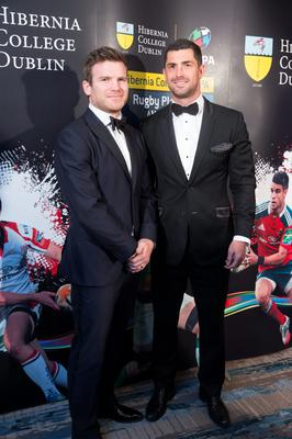Gordan Darcy and Rob Kearney at the Hibernia College IRUPA Rugby Players Awards 2015 at the Doubletree by Hilton in Dublin. Picture: Arthur Carron