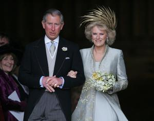 Newly wed: Prince Charles and the Duchess of Cornwall leave St. George's Chapel in Windsor Castle, finally united as man and wife