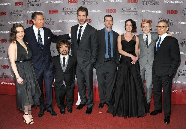 """Emilia Clarke, Richard Plepler, Peter Dinklage, David Benioff, D.B. Weiss, Lena Headey, Jack Gleeson and Michael Lombardo attend the """"Game Of Thrones"""" Season 4 New York premiere at Avery Fisher Hall, Lincoln Center on March 18, 2014 in New York City. (Photo by Jamie McCarthy/Getty Images)"""