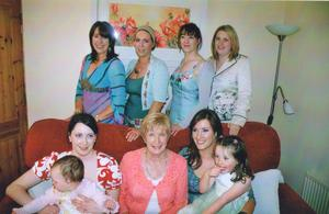 "Elaine Crowley: ""This is me with my five sisters Veronica, Mona, Cathy, Mag and Lillian, and our mum Mary. This was taken about 10 years ago, and I was about 29 years of age. This was one of the skinniest times of my life. I'm the shortest of the six girls"