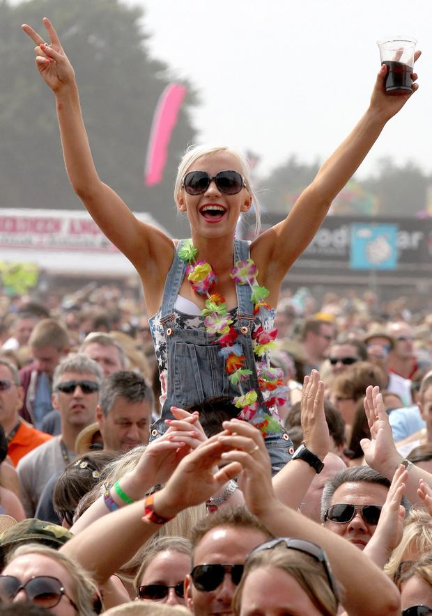 Music fans at the main stage during the 20th T in the Park music festival at Kinross.